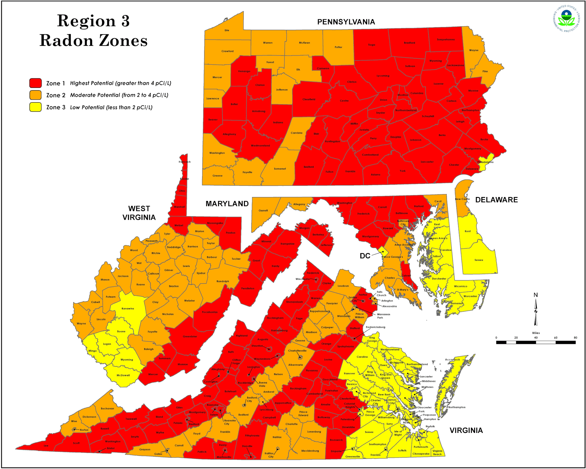 Radon Baxter Group Inc - Radon us map